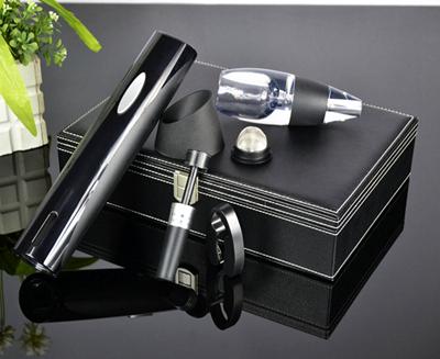 百诣升级版红酒开瓶器黑色干电池醒酒器5件套BY215