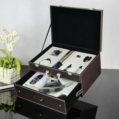 百诣升级板·不绣钢电动红酒开瓶器双层商务礼品套装