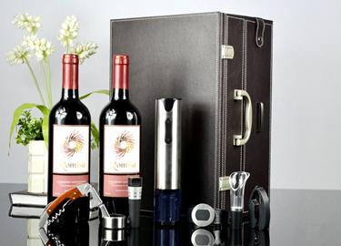 百诣不锈钢电动开瓶器双层双支酒箱套装BY718