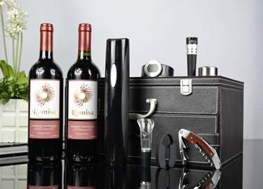 百诣黑色干电池电动开瓶器双层双支酒箱BY719
